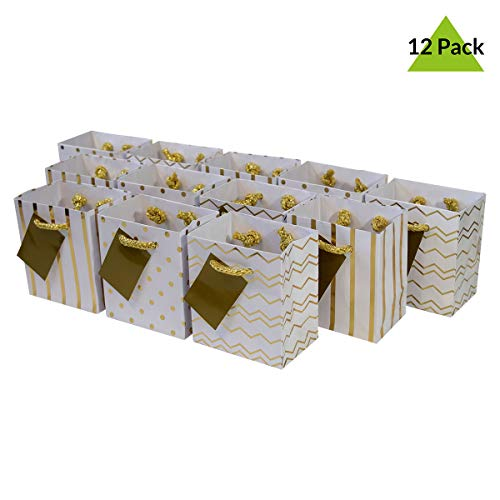 4x2.75x4.5 12 Pcs. Extra Small Metallic Gold Paper Gift Bags with Handles, Birthday Party Favor Bags, Chevron Polka Dot Chevron Polka Dot Stripe Patterns
