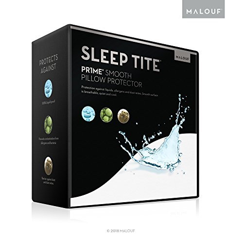 MALOUF SL0PQQPP Sleep TITE PR1ME Smooth Hypoallergenic Waterproof Pillow Protector with 15-Year Warranty - Queen - Set of 2