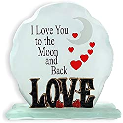 I Love You to The Moon and Back - Frosted Glass Sign - Desktop Plaque with a Loving, Inspirational Saying - I Love You