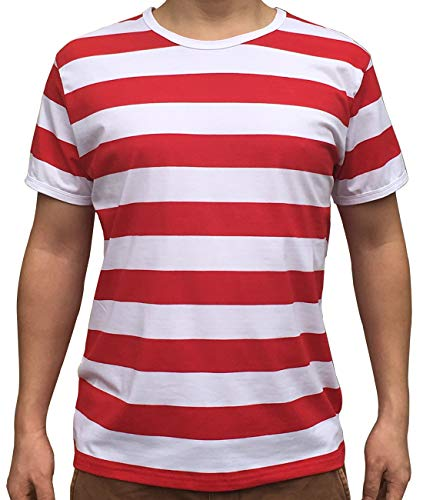 - Ezsskj Men's red and White Striped Shirt Waldo Costume Shirt Tee Outfits Tops Large