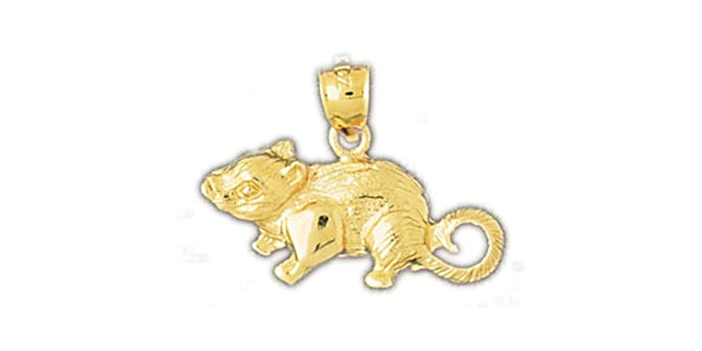 14k Yellow Gold Mouse Pendant on a 14K Yellow Gold Rope Box or Curb Chain Necklace