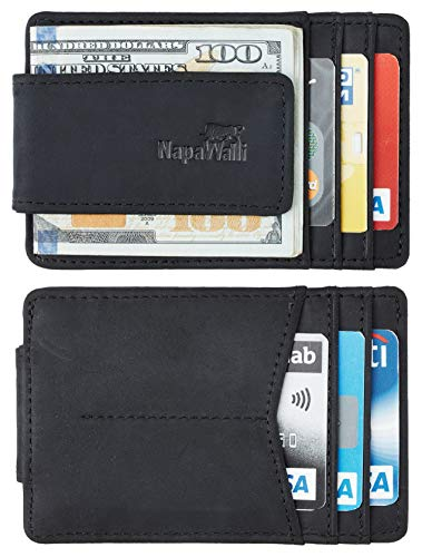 Toughergun Genuine Magnetic Napa Leather Front Pocket Money Clip Slim Minimalist Wallet Made with Powerful RARE EARTH Magnets Plus RFID Blocking(Hunter Black)