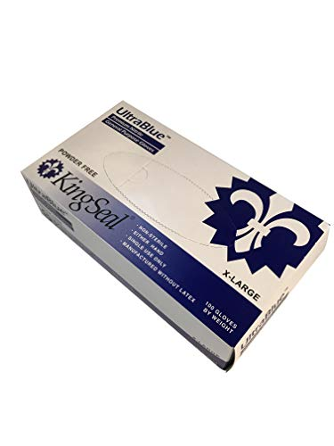 KingSeal UltraBlue Cobalt Indigo Blue Disposable Gloves, 4 mil, Latex-Free, Textured, Size X-Large - 4 boxes of 100 each (400pcs total) by KingSeal (Image #1)
