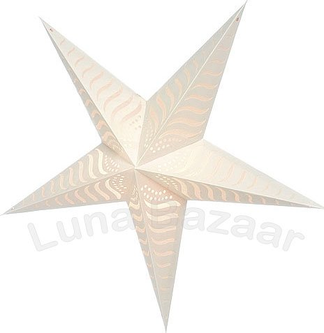 Cultural Intrigue Luna Bazaar Paper Star Lantern (36-Inch, White, Luna Design) - For Home Decor, Parties, and Holiday Decorations