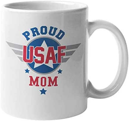 Make Your Mark Design Proud USAF Mom Cool Coffee & Tea Gift Mug for An Air Force Mom, Mother, Aunt, Sister, Military Officer, Soldier, Mother-In-Law, Fiancee, Lover, Parents, and Women (11oz)