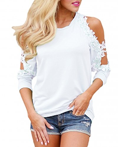 StyleDome Women's Off Shoulder Blouse Shirts Crechet Lace Long Sleeve Casual Round Neck Tee Tops Off White S (White Top Off Round)