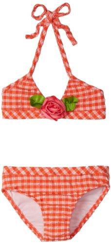 Love U Lots Little Girls'  2 Piece Bikini Minicheck Seersucker with Rose, Coral, 6X