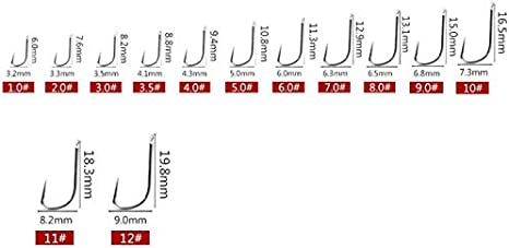 ArgoDBar Crochets en Alliage de Titane Pit Noir sans Manches Barbel/ées Fly-Sleeve Super-Hard Non Inverted-Point Comp/étitive Fishing