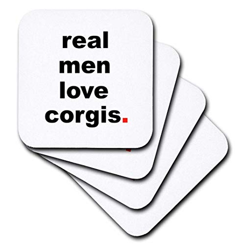 3dRose CST_123071_3 Real Men Love Corgis Ceramic Tile Coasters, Set of 4 ()