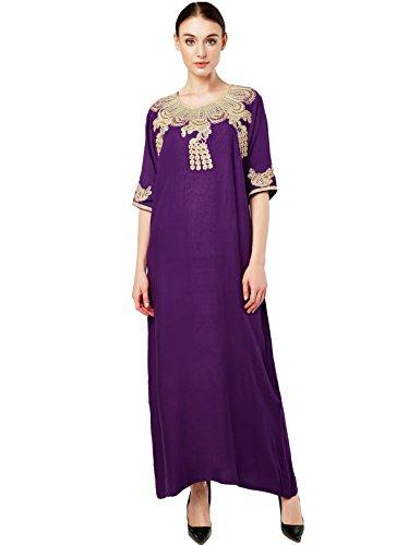 Muslim Dress Dubai Kaftan For Women Half Sleeve Arabic Long Dress Abaya Islamic Clothing Girls Caftan JALABIYA,Purple,Medium