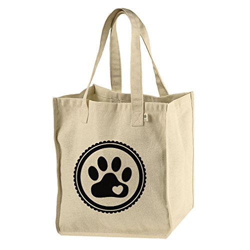 (Hemp/Cotton Canvas Market Tote Bag Paw, Cat, Dog, Pet Style In Print)