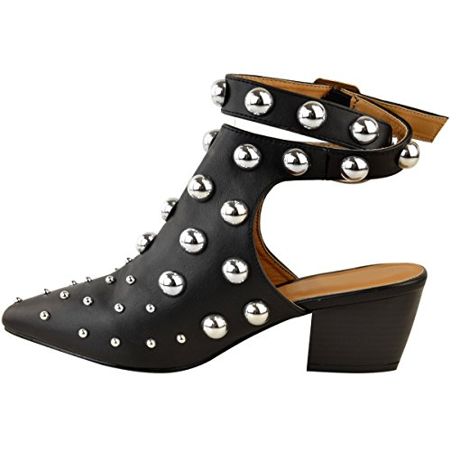 Low Boots Party Block New Heel Fashion Size Ankle Evening Leather Thirsty Womens Black Studded Faux zwFXqI8