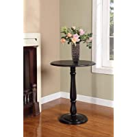 Kings Brand D11 Wood Round Dinette Table Plant Stand, Black Finish