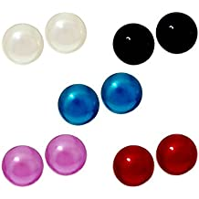Honora Pearl Sterling Silver Earrings Freshwater Cultured button Studs set of 5