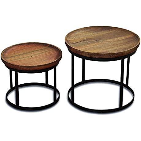 The Urban Chic Tribeca Tables Set Of 2 Round Accent Tables Late 20th Century Design Sustainable Wood Iron Frame 20 7 8 D X 17 5 7 H And 16 7 8 D X 13 3 4 H Inches By Whole House Worlds