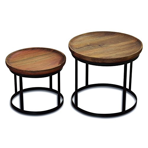 The Urban Chic Tribeca Tables, Set of 2 Round Accent Tables, Late 20th Century Design, Sustainable Wood, Iron Frame, 20 7/8 D x 17 5/7 H and 16 7/8 D x 13 3/4 H Inches By Whole house Worlds
