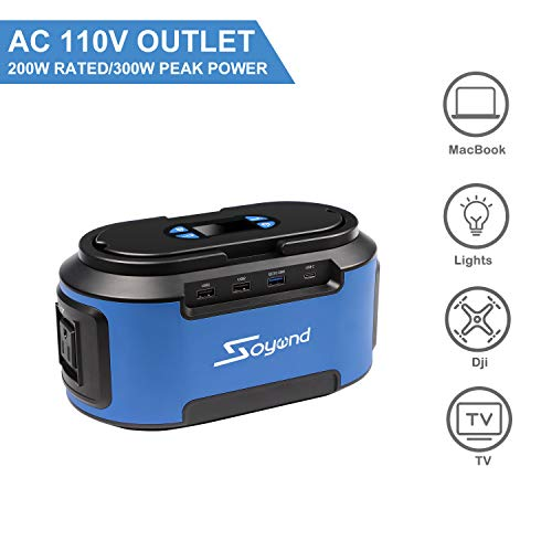 Portable Power Station 222Wh 60000mAH Portable Generator with 110V AC Outlets, 4 DC Ports, USB Quick Charger 3.0, Rechargeable Power Inverter for CPAP Emergence Hurricane Storm Outage Home Camping