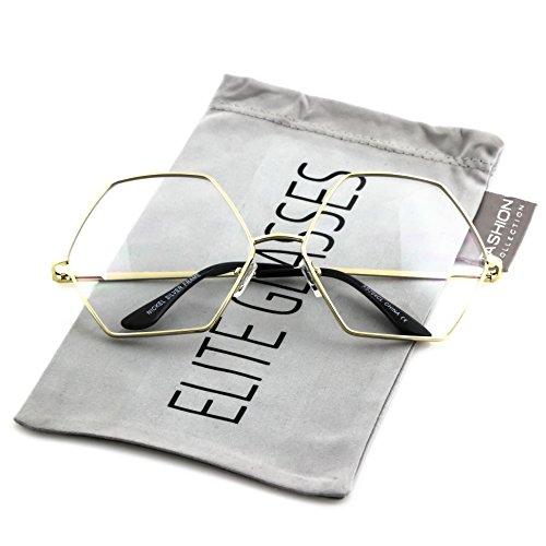 Elite Glasses Vintage OCTAGON Shape Gold Metal Frame Clear Lens Sunglasses (Gold Frame, - Glasses Clear Hexagon