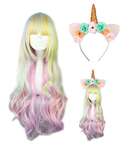COSPLAZA Flat Bangs Long Wavy Rainbow Colorful Wig Pony Unicorn Horn Flower Headband for (Unisex Long Rocker Wig)