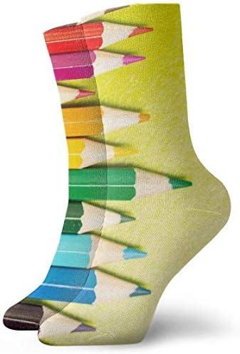 多色鉛筆クローズアップ通気性足首ソックス30cmコットンアスレチッククルーソックス、男性、女性、子供用