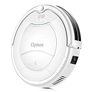 Clymen Q7 Robot Vacuum Cleaner, a Self-Charging Robotic Vacuum Cleaner for Pets, Suitable for Carpets, Tiles and Hardwood Floors, Removes Hair, Fur and Dirt, White