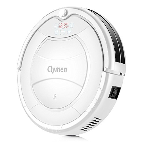 Clymen Q7 Robot Vacuum Cleaner, a Self-Charging Robotic Vacuum Cleaner, Suitable for Tiles and Hardwood Floors, Removes Hair, Fur and Dirt, White