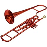 TROMBONE Bb PITCH FOR SALE RED WITH FREE HARD CASE AND MP