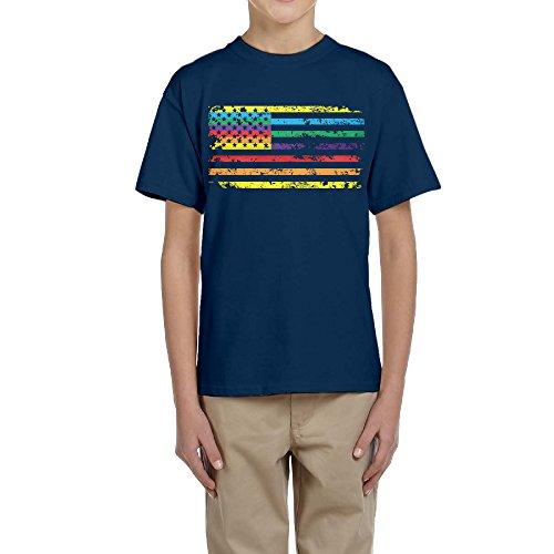 HSNSW Rainbow American Flag Make American Gay Again Unisex Youth Teenager Raglan T-shirt Navy S