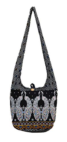 Sling Crossbody Shoulder Navy Gypsy Boho Hobo M1715 Messenger Zip Bag Purse Cotton Thai Hippie Medium Handmade Pattern Peacock qtApEE
