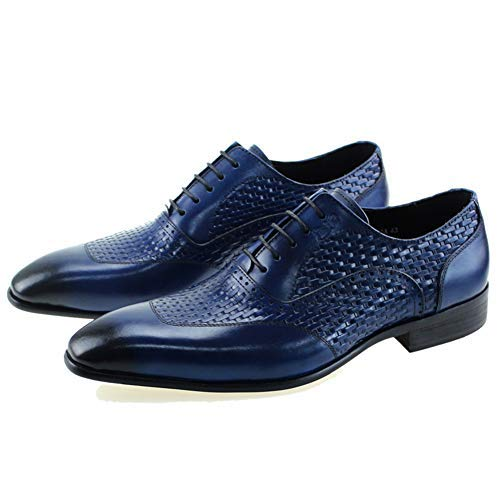FELIX CHU Mens Dress Shoes Blue Oxfords Wedding Office Luxury Italian Genuine Cow Leather Lace-Up Shoes