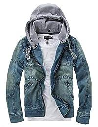 Fubotevic Men Washed Casual Detchable Hoodie Rugged Unlined Wear Denim Jacket Coat