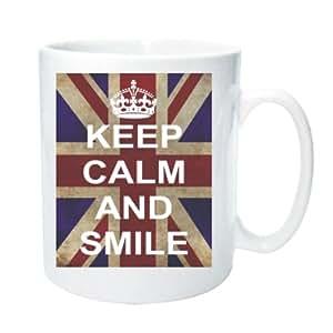 Taza 2086y Smile Keep Calm And Carry On WW2gama Fun Funny Retro calidad foto taza