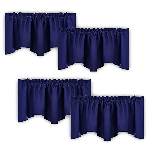 NICETOWN Navy Blue Blackout Valance Curtains - Modern Design 52 inches by 18 inches Scalloped Rod Pocket Window Drapes/Draperies for Living Room/Bedroom/Apartment, Window Dressing Panels, 2 Sets