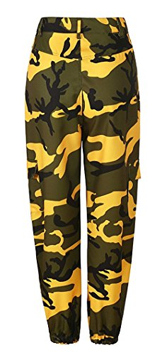 Tuta Moda Vintage Femminile Donna Pantaloni Pantaloni Sciolto Training Giovane Trousers Tempo Costume Pantaloni Waist Militari Esercito Pantaloni Gelb Eleganti Palestra Libero Sportivi High Sportivi w0FxEErqXO