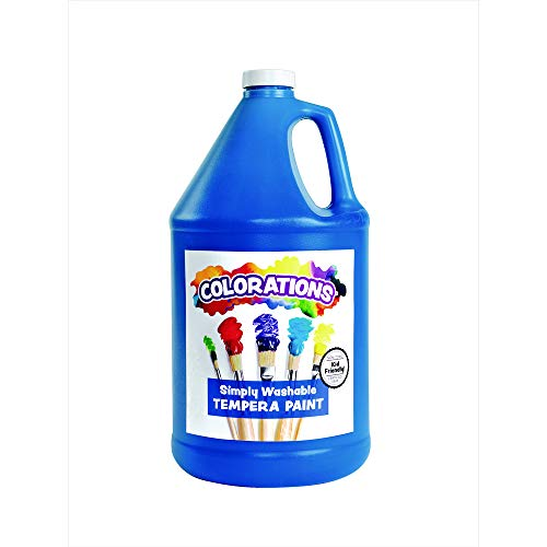 (Colorations Washable Tempera Paint, Gallon, Blue, Non Toxic, Vibrant, Bold, Kids Paint, Craft, Hobby, Fun, Art Supplies)