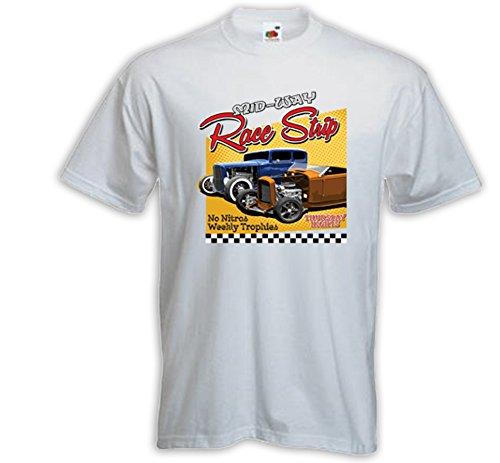 Hot Rod T-Shirt Race Strip weiß Vintage Rockabilly US V8 Rat Rod Gr.XXXL