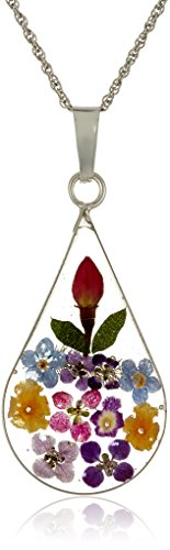 Sterling Silver Multi-Colored Pressed Flower Teardrop Pendant Necklace, 18