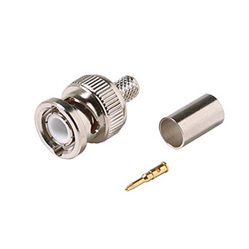 BNC Hex Crimp Male Connector 3 Piece Plug Commercial Grade RG6 RG-6 Coaxial Female Crimp Plug Connector Hex Crimp BNC Connector 10 Pack