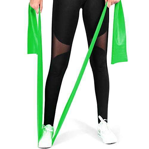 MOKOSS Exercise Band Long Resistance Bands Professional Latex Free Elastic Bands, Perfect for Strength Training, Physical Therapy, Yoga, Pilates, Stretching (Green)