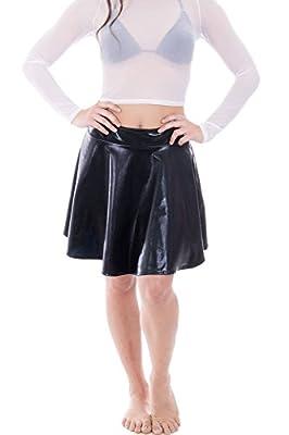 Women's Shiny Liquid Metallic Pleated Mini Skirt