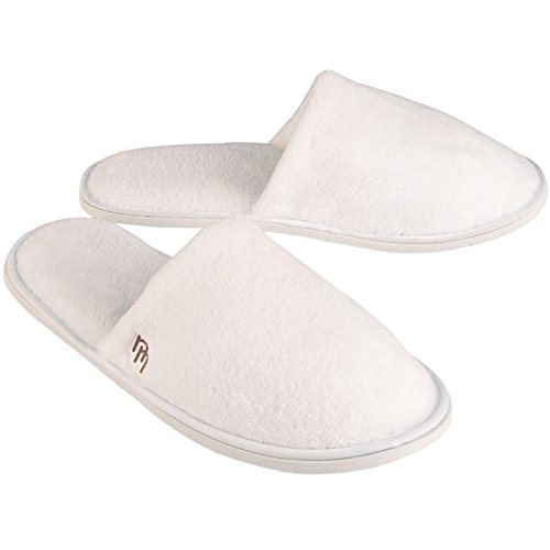 12pk White Closed Toe Coral Fleece House and Travel Slipper (Large)