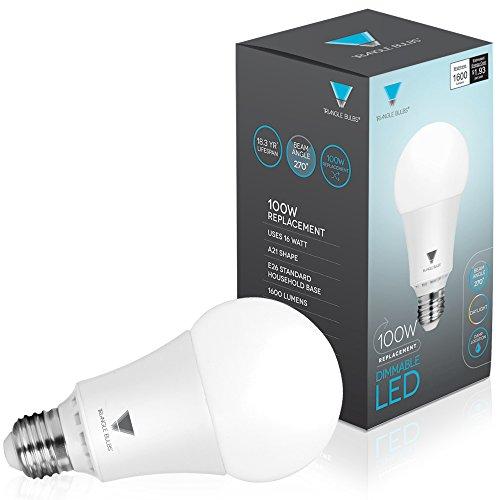 Triangle Bulbs T95143, LED Dimmable 100 Watt Equivalent 5000K Daylight LED Light Bulbs, 1600 Lumens, 4-PACK