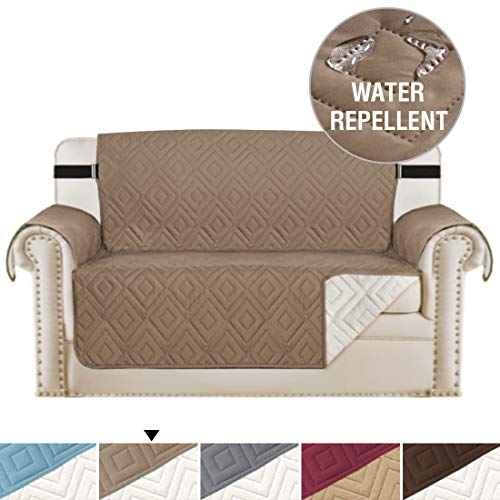 Luxurious Reversible Couch Slipcover Furniture Protector, 75 x 90, 2 Inch Elastic Strap Water-repellent, Seat Width Up to 46 Machine Washable, Perfect for Pet (Loveseat: Taupe / Beige)
