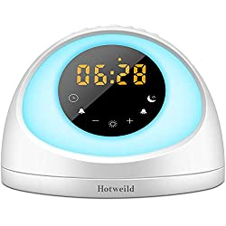 Sunrise Alarm Clock, Hotweild LED Alarm Clock for Kids Wake up Light FM Radio 7 Colors LED Display Touch Control Snooze 6 Natural Sounds with Sunrise Sunset Simulator Mode Upgraded