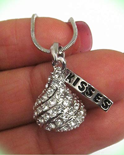 KISSES Crystal Stud Ice Chocolate White Gold Plated Candy Pendant Necklace For Women