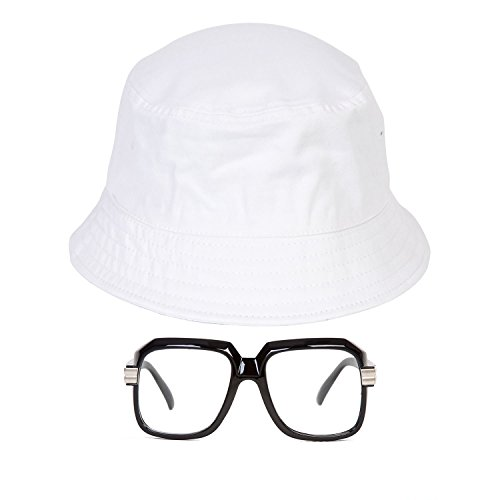 Gravity Trading 80s/90s Hip-Hop Costume Kit (Bucket Hat + Old School Squared Glasses) White L/XL