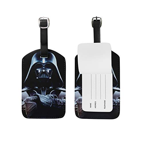 Darth Vader Star Wars Luggage Tags Adjustable Strap Leather luggage tag for Baggage Bags/Suitcases - Name ID Labels Set for Travel