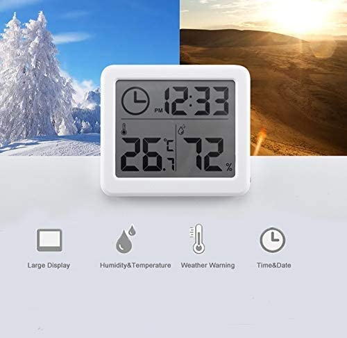 ESOLOM Digital Thermometer Hygrometer Alarm Clock Indoor Thermo-hygrometer with Temperature Gauge and 3.2 Inch LCD Display Table Standing Magnet Attaching for Household Kids Home Kitchen