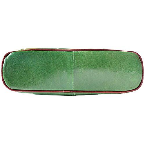 BOLSO DE HOMBRO EN CUERO CON DOBLE ASA 215 Verde-marron