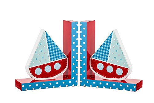 Borders Unlimited Ahoy Sailboat Wooden Children's Bookends, Red, White, Blue by Borders Unlimited (Image #1)